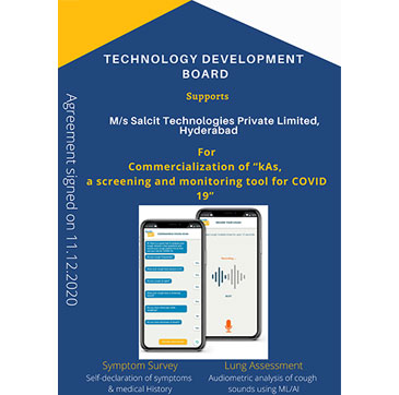 Technology Development Board (TDB) supports Salcit Technologies Pvt Ltd, Hyderabad