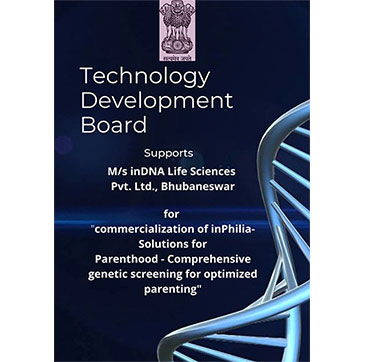 Technology Development Board (TDB) supports inDNA Life Sciences Private Limited., Bhubaneshwar., Orissa